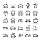 Линия значки транспорта пакует бесплатная иллюстрация