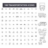 Линия значки транспорта editable, набор 100 векторов, собрание Иллюстрации плана транспорта черные, знаки иллюстрация вектора