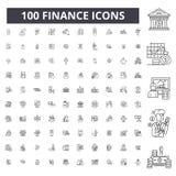 Линия значки финансов editable, набор 100 векторов, собрание Иллюстрации плана черноты финансов, знаки, символы бесплатная иллюстрация