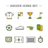 Линия значки футбола Стоковая Фотография RF