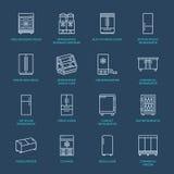 Линия значки холодильников плоская Холодильник печатает, замораживатель, охладитель вина, коммерчески главный прибор, refrigerate иллюстрация вектора