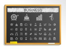 Линия значки чертежа руки дела Комплект пиктограммы doodle вектора, иллюстрация знака эскиза мела на классн классном Стоковое Фото