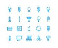Линия значки электрических лампочек плоская Типы ламп, дневной приведенные, нить, галоид, диод и другое освещение Тонкое линейное иллюстрация вектора