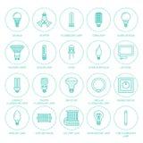 Линия значки электрических лампочек плоская Типы ламп, дневной приведенные, нить, галоид, диод и другое освещение Тонкое линейное иллюстрация штока