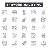 Линия значки Copywriting для сети и мобильного дизайна Editable знаки хода Иллюстрации концепции плана Copywriting иллюстрация вектора