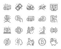Линия значки Cryptocurrency Комплект Blockchain, секретное ICO начинает вверх и Bitcoin вектор иллюстрация штока