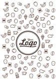 Линия значки Doodle еды Стоковые Фото