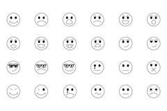 Линия значки 1 Smiley Стоковые Фото