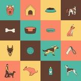 Линия значков собаки плоская Стоковые Изображения RF
