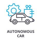 Линия значок автономного автомобиля тонкая, знак, символ, illustation, линейная концепция, вектор иллюстрация вектора