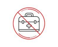 Линия значок бортовой аптечки Медицинский знак случая вектор иллюстрация штока