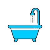 Линия значок ванны стоковое фото rf