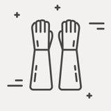 Линия значок вектора защитных перчаток Знак оборудования химической лаборатории Иллюстрация научного исследования вектор изображе Стоковые Изображения RF