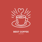 Линия значок вектора кофейной чашки Логотип оборудования Barista линейный Конспектируйте символ для кафа, заприте, ходите по мага Стоковое Изображение