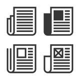 Линия значок газеты установленный на белую предпосылку вектор Стоковое Изображение