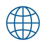 Линия значок глобуса тонкая также вектор иллюстрации притяжки corel Интернет, путешествуя, землеведение, сообщения, вопросы техно бесплатная иллюстрация