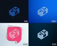 Линия значок денег наличных денег Валюта банка иллюстрация штока