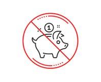 Линия значок денег сбережений Знак копилки вектор иллюстрация штока