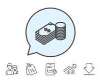 Линия значок денег наличных денег Валюта банка иллюстрация вектора