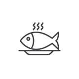 Линия значок еды рыб, знак вектора плана Стоковые Изображения RF