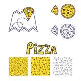 Линия значок и безшовный комплект пиццы картины Стоковое Фото