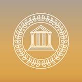 Линия значок и логотип вектора банка Стоковые Изображения