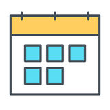 Линия значок календаря Символ вектора в стиле плана Стоковое Фото