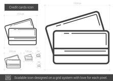 Линия значок кредитных карточек бесплатная иллюстрация