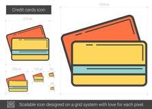 Линия значок кредитных карточек иллюстрация вектора
