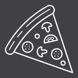 Линия значок куска пиццы, еда и питье, фаст-фуд иллюстрация штока