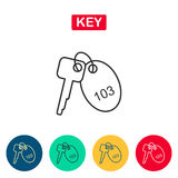 Линия значок ключа комнаты Стоковые Изображения