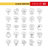 Линия значок обслуживания облака черная - набор значка плана 25 дел иллюстрация вектора