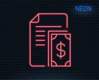Линия значок оплаты Документ с деньгами наличных денег иллюстрация вектора