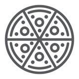 Линия значок пиццы, еда и итальянец, знак фаст-фуда, векторные графики, линейная картина на белой предпосылке иллюстрация вектора