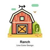 Линия значок ранчо цвета иллюстрация штока