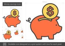 Линия значок сбережений денег Стоковая Фотография