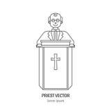 Линия значок священника иллюстрация вектора