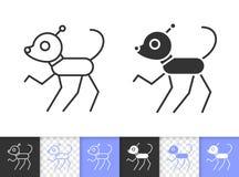 Линия значок собаки робота простая черная вектора иллюстрация штока