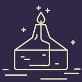 Линия значок спиртовой горелки Знак вектора оборудования химической лаборатории Иллюстрация научного исследования Элемент дизайна Стоковое Изображение RF