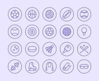 Линия значок спортивного инвентаря Стиль иллюстрации вектора плоский Включенные значки как шарики спорта, баскетбол, гандбол иллюстрация штока