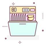 Линия значок стиральной машины вектора стиля Стоковая Фотография RF