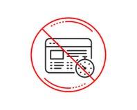 Линия значок таймера сети Онлайн знак теста викторины вектор иллюстрация штока