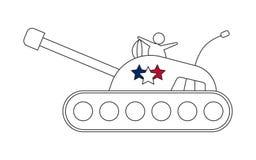 Линия значок танка с звездами стоковая фотография rf