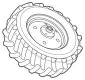 Линия значок трактора колеса стоковые фото