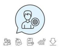 Линия значок установок потребителя Мужской знак профиля иллюстрация штока