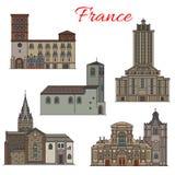 Линия значок французского ориентир ориентира перемещения архитектуры тонкая иллюстрация штока