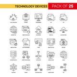 Линия значок черноты прибора технологии - набор значка плана 25 дел бесплатная иллюстрация