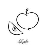 Линия значок Яблока вектора doodle Стоковое фото RF