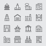 Линия здания значок стоковое изображение
