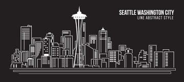Линия дизайн здания городского пейзажа иллюстрации вектора искусства - город Сиэтл Вашингтона Стоковая Фотография RF
